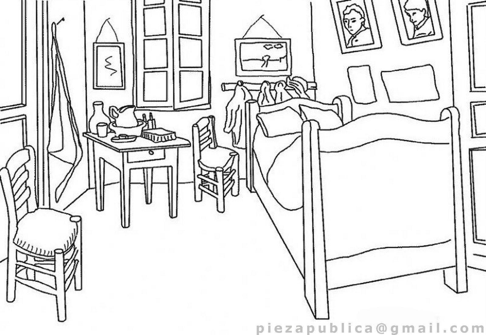 La Habitación de Arlés de Vang Gogh. Dibujo - FICHAS PARA PINTAR ...